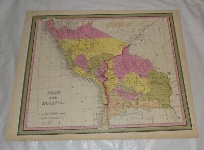 1850s Antique COLOR Map of PERU and BOLIVIA