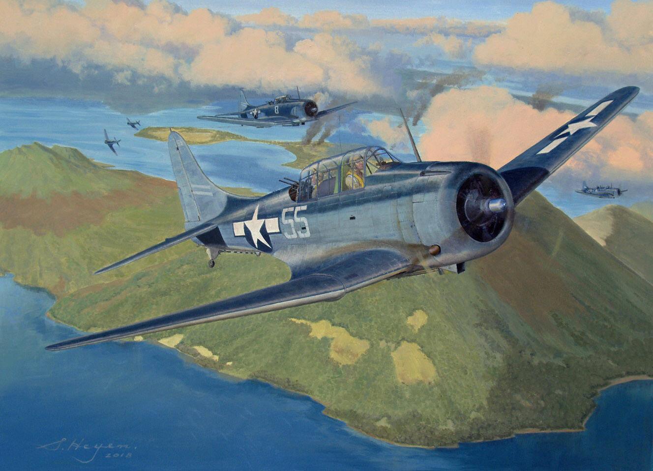 Details about Original Aviation Art: Douglas Dauntless oil painting