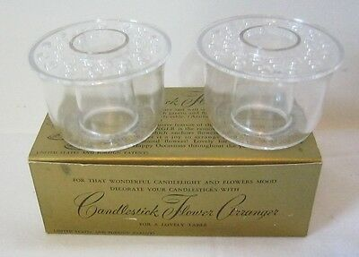 Vintage Candlestick Flower Arranger Clear Plastic Frogs Set