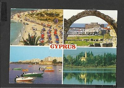Colour Multiview Postcard Beach- Boats Cyprus posted 1996