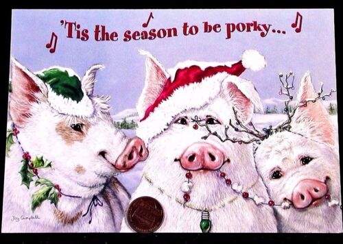 Adorable Pig Pigs Garland Holly Antlers Hats Porky - Christmas Greeting Card NEW