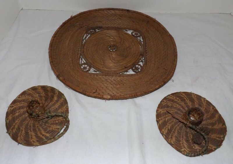 Vintage Hande Made PINE NEEDLES Round Tray and 2 Candleholders - CRAFTS