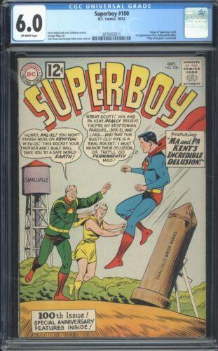 Superboy 100 CGC 6.0 OW Silver Age Key Marvel Origin Of Superboy Retold L@@K