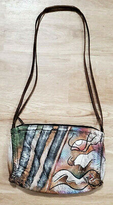 Anuschka Leather Painted Purse Shoulder Bag Brown