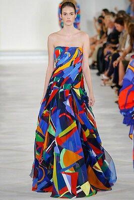 RALPH LAUREN COLLECTION Multi Color Silk Organza Bustier Dress Gown 2 4