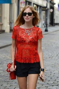 Zara Red Lace Peplum Blouse 39
