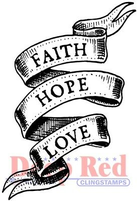 Faith Rubber (Deep Red Stamps Faith Hope Love Rubber Cling Stamp )