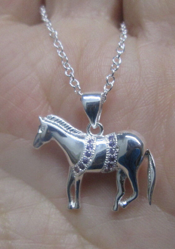 Sterling Silver Left Facing Standing Horse Pendant with Lavender Crystals