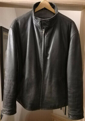 MEN'S GUESS BLACK LEATHER ZIPPER FRONT JACKET. SIZE  XL DISTRESSED MAGNET COLLAR