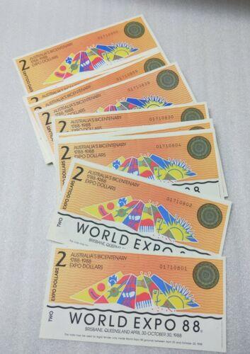 Bulk Lot 100 x EXPO 88 Brisbane $2 tourist dollars souvenir pieces