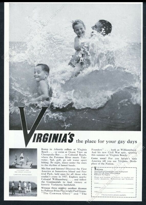 1958 Virginia travel The Place For Your Gay Days vintage print ad