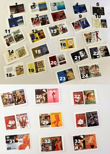 Dollhouse Miniature Magazines & Book Covers - DIY - 3 per Set - 1:12 Scale
