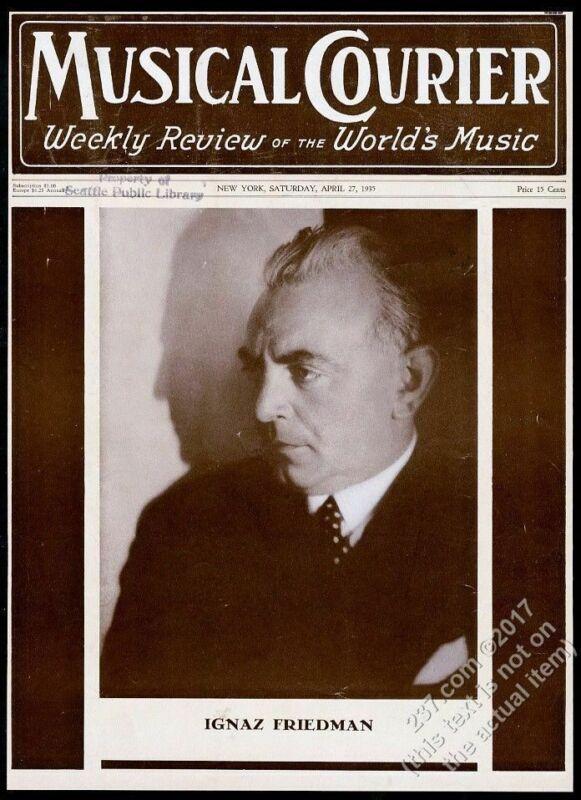 1935 Ignaz Friedman photo Musical Courier framing cover