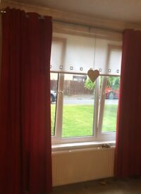 IKEA red velvet fully lined curtains