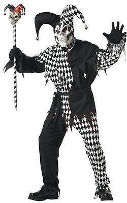 Evil Jester Scary Skull Clown Joker Adult Costume - White/Black - Scary Joker Costume