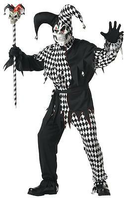Scary Clown Costume (Evil Jester Scary Skull Clown Joker Adult Costume -)