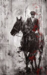 "Tommy  Shelby On Horse Peaky Blinders Wall Art Canvas 22"" X 14"" solid frame"