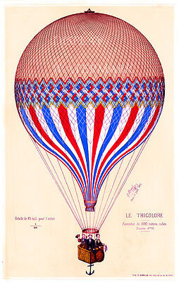 "Vintage French  Le Tricolore balloon 1874 lithograph 11.7"" x 16.5"""