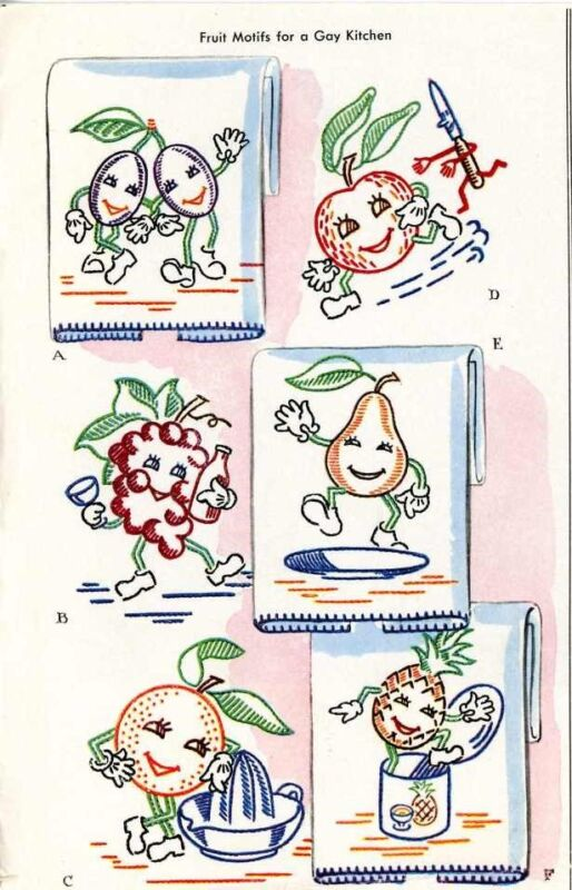 Animated Fruit 1419 for Kitchen Dish towels 50s repo iron on Embroidery Transfer