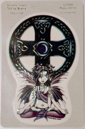 Myka Jelina Celtic Lotus Double Sided Sticker Fairy Faerie Car Decal Cross