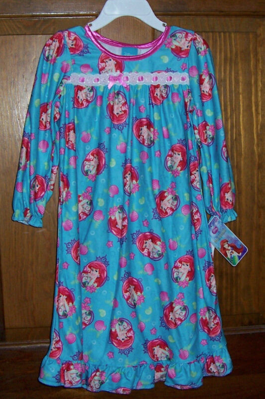 Disney Princess Ariel Little Mermaid Flannel Pajama Nightgown Toddler Girls 4T