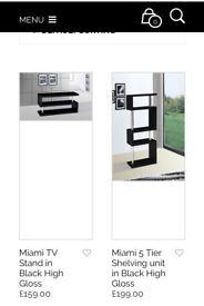 Black Hi-Gloss TV cabinet and 5-Tier Shelving Unit