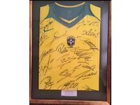 Framed & Signed Brazil Team Shirt