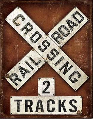 """Railroad RR Crossing Warning Sign 2 Track Weathered Tin Metal Sign 16"""" NEW"""