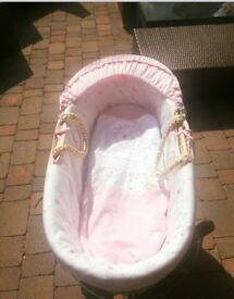 Beautiful pink mothercare moses basket & stand