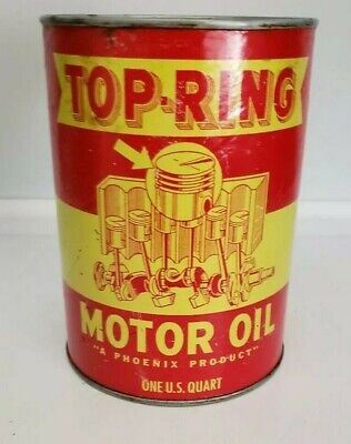 Vintage FULL Quart Can TOP-RING Motor Oil with Paper Liner, Nice Graphics