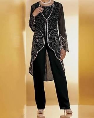 Women's Mother of Bride Groom Wedding Black 3PC duster pant set suit plus 26W 3X