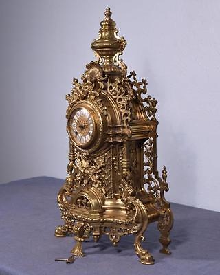 Vintage Bronze Neo Gothic Mantel Clock with Hermle/FHS Clockworks