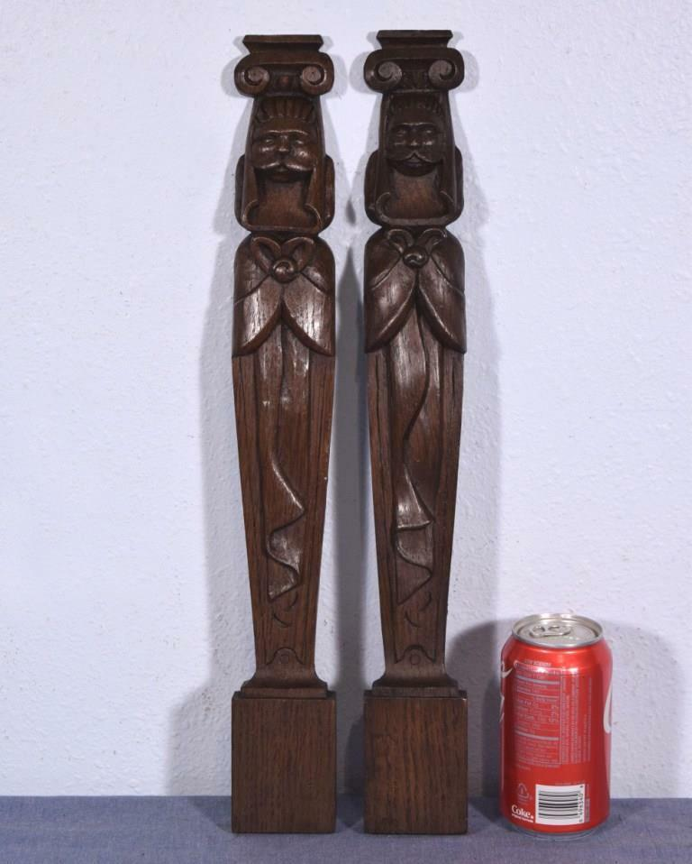 "*19"" Pair of Antique Carved Figures Trim Pillars Architectural Oak Salvage"