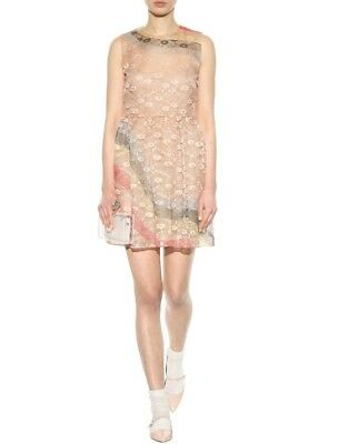 Red Valentino Nude Rainbow Curved Stripe Effect Lace Dress IT 42/US 6 $1150, used for sale  Chicago