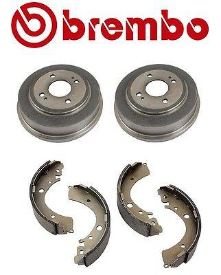 Set of 2 Brembo Rear Brake Drums & Aftermarket Rear Brake Shoes For Honda Civic (Brembo Rear Brake Drum)