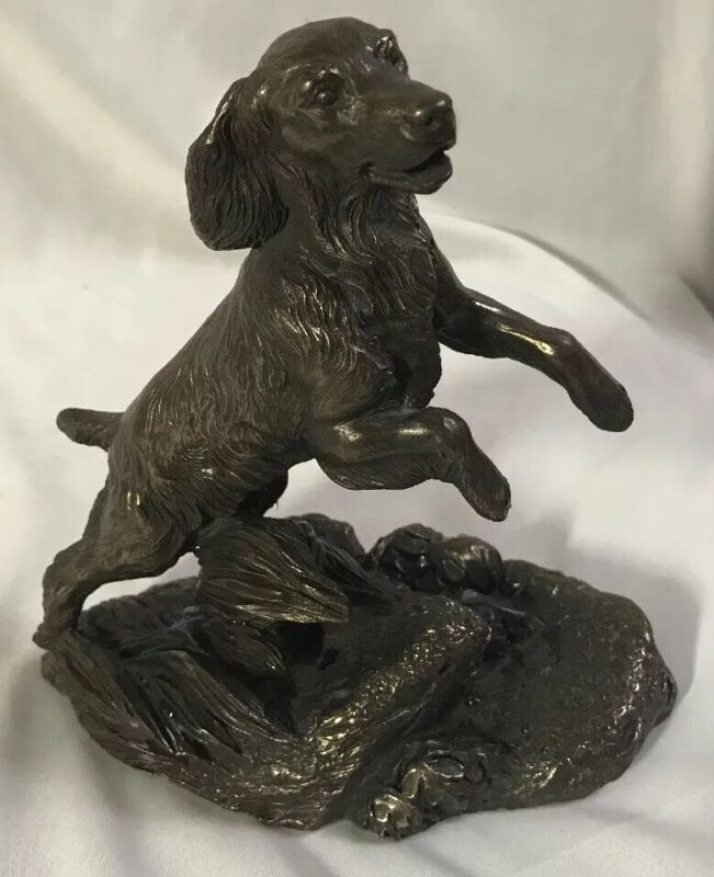Vintage Heredities Cold Cast Bronze Resin Spaniel Pup Sculpture Signed J. Spouse