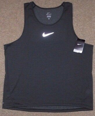 Nike sz XL Men's AeroReact  Running Tank Top Shirt NEW $85 920783 010 Black Grey
