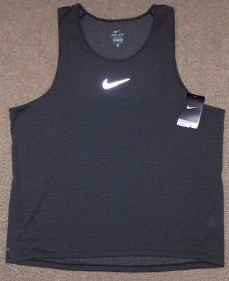 Nike sz L Men's AeroReact  Running Tank Top Shirt NEW $85 920783 010 Black Grey