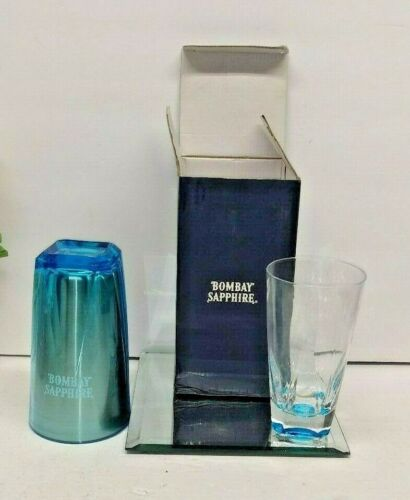 BOMBAY SAPPHIRE ADVERTISING COCKTAIL SHAKER STAINLESS WITH GLASS NIB FREE JIGGER