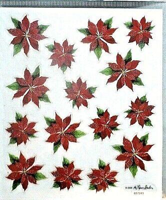 Poinsettia #1 Christmas Flowers PS Clear Glitter Accents Stickers Clear Glitter Stickers