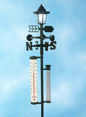 Garden Stake Thermometer (5 Ft. Weather Station Garden Stake w/ Solar Lantern Thermometer Wind Rain Gauge )