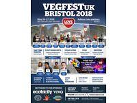 2 weekend Vegfest Bristol Supporter tickets 27-27 May £25 or next best offer