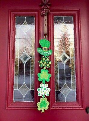 Saint Patricks Day Three Leaf Clover Door Wreath Decor Hanging Swag Shamrock