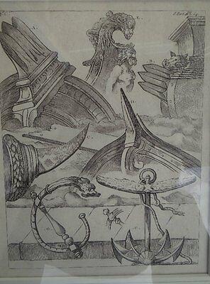 """maritimer Stich, 18.Jhd., """"div. Bug-Formen"""", ger/Glas, RG 40x33 cm (210/13061)"""