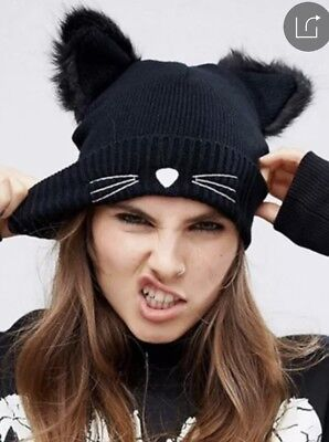 brand new black beanie with cat whiskers and ears](Cat Ears And Whiskers)