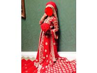 Pakistani bridal dress with lengha in Red