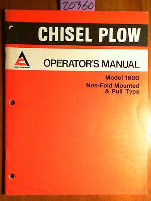 Allis-chalmers 1600 Non-fold Mounted Pull Type Chisel Plow Operator Manual 77