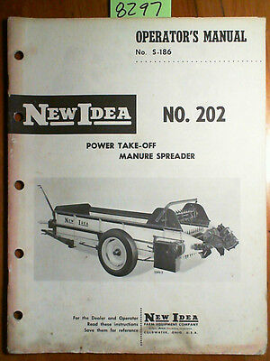New Idea 202 Power Take-off Pto Manure Spreader Owner Operator Parts Manual 61