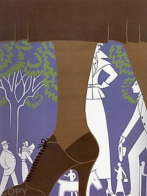 "Erte  ""Brown Boot"" 1974 Serigraph, Pencil Signed and Numbered 184 of 260"