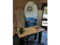 Barber work station double sided with 2 double sockets.
